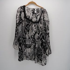 Studio 1940 Floral Knit Long Sleeve Blouse 30/32